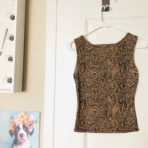 Tops - Python print open back strappy stretch tank top 🐍